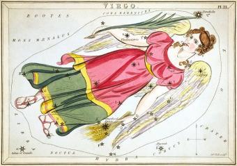 ספיקה- הכוכב הבהיר ביותר בקבוצת הכוכבים בתולה | תחריט מספר האסטרונומיה  Urania's Mirror (שנת 1825)