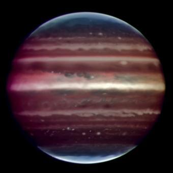 צדק באינפרה-אדום, כפי שצולם על ידי הטלסקופ הגדול מאוד (Very Large Telescope) של המצפה האירופי הדרומי. קרדיט: ESO