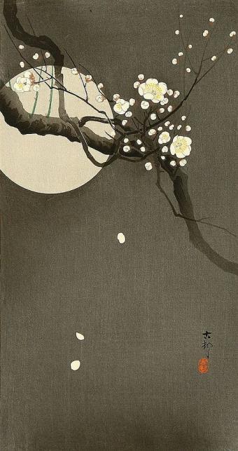 עץ השזיף על רקע שמי הלילה והירח | אוהרה קוסון, יפן (1945)