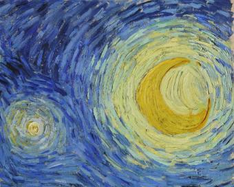 ירח וכוכב   פרט מתוך Starry Night מאת וינסנט ואן גוך