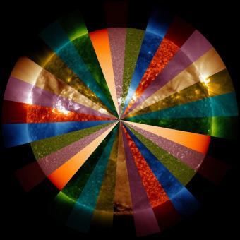 חתכים מתמונות שונות של השמש. כל פלח מייצג תמונת אורך גל אחר | NASA/SDO/GSFC Visualization Studio
