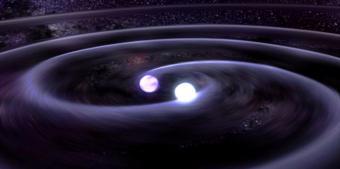 סימולציה של התנגשות שני כוכבי נייטרונים | איור: NASA