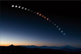 צילום רצף המציג את את מהלכו של ליקוי ירח | NASA
