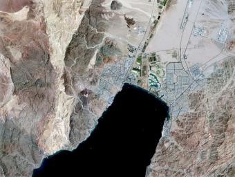 מפרץ אילת, כפי שצולם על ידי הלוויין ונוס
