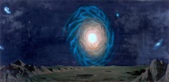 גלקסיית שביל החלל מכוכב לכת היפותטי | ציור: Chesley Bonestell דרך: flickr Tom Simpson