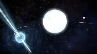 הדמיה של מערכת הכוכבים שבזכותה נערך הניסוי | קרדיט: Archibald et al