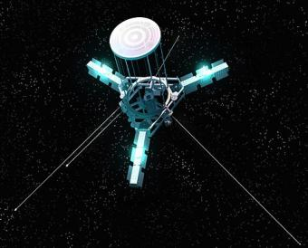 אילוסטרציה המדגימה תקשורת לוויין באמצעות לייזר | איור: NASA, JPL
