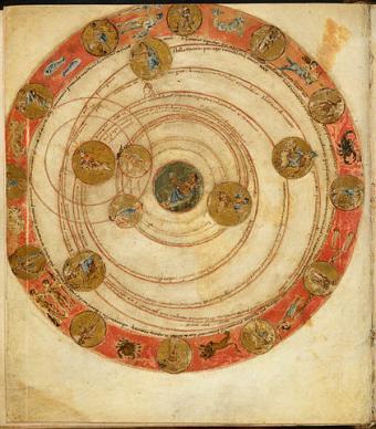 מיפוי שמי הלילה וכוכבי הלכת ב- 18 במרץ, שנת 816 | באדיבות ספריית אוניברסיטת ליידן