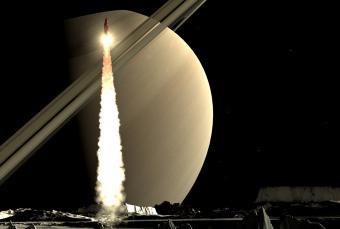 איור של טיל המשוגר מאחד מירחי שבתאי