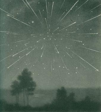 מטר הדרקונידים מאוקטובר 1933 | איור: Larousse Encyclopedia of Astronomy