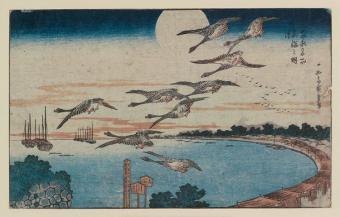 ירח מלא מעל טאקאנאווה | צייר: אוטאגאווה הירושיגה, 1831-1832
