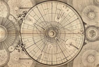 מיפוי מערכת השמש משנת 1742 שנעשתה על ידי Thomas Wright of Durham