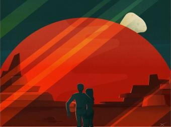 שקיעה מאדים | פוסטר תיירותי למאדים שנוצר על ידי חברת SpaceX